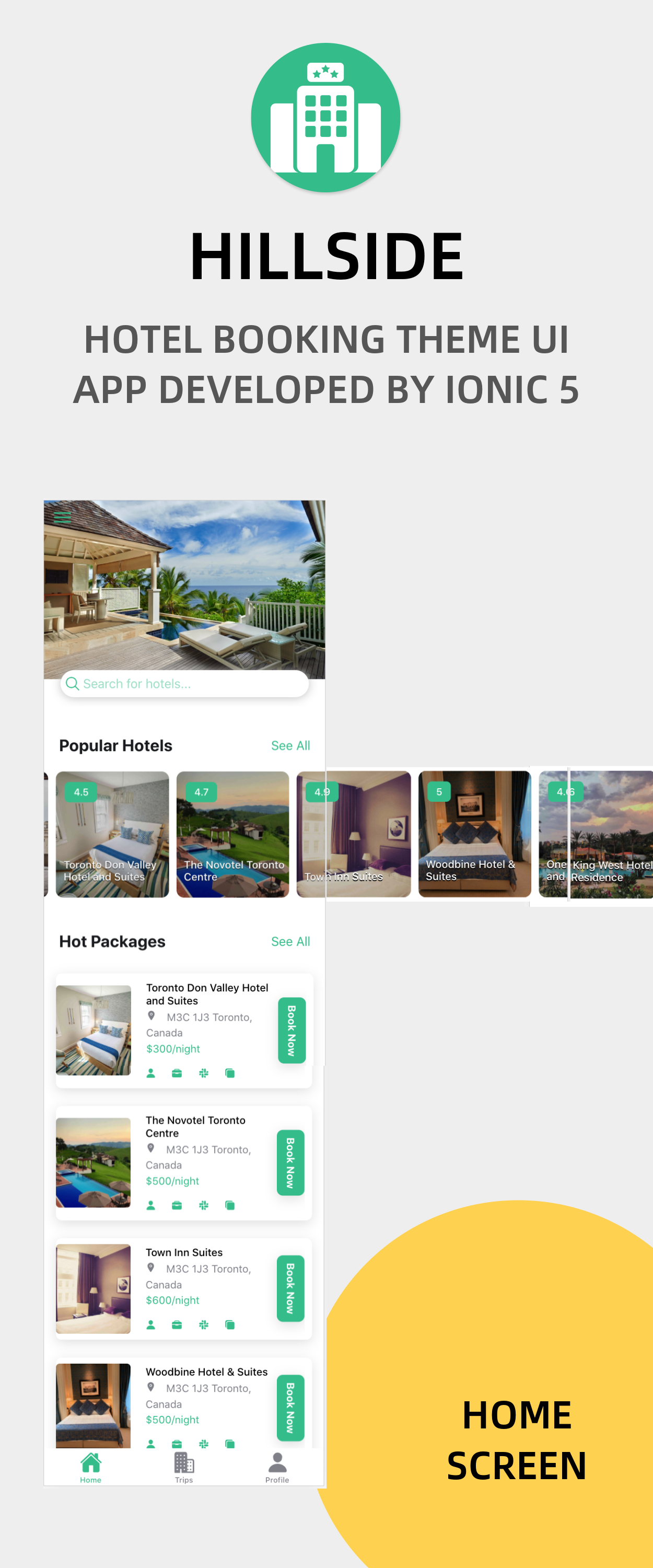 Hillside - A Hotel Booking Theme UI App By Ionic 5 Angular 9 (Latest) - 2